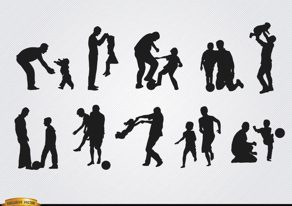 Fathers playing with sons silhouettes - Free vector #182375