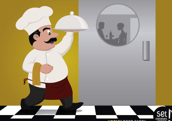 Chef serving food for couple - Kostenloses vector #182415