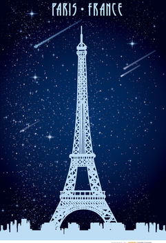 Paris Eiffel starry poster - бесплатный vector #182505