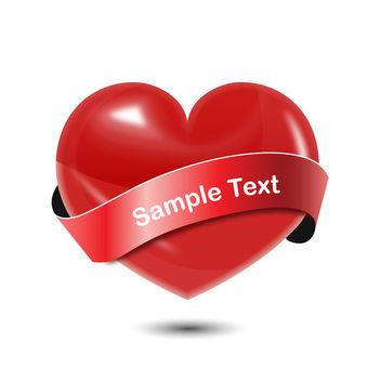 Shiny Heart with Ribbon Banner - Free vector #182525