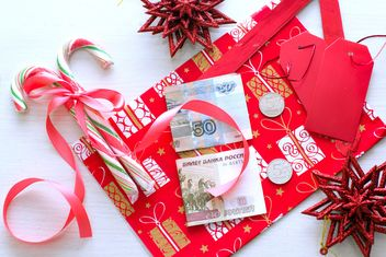 Christmas decorations, candies and money - image #182585 gratis
