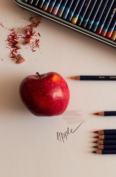 Apple and pencils - Free image #183375