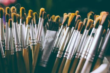 Close-up of paintbrushes in cup - Free image #186085
