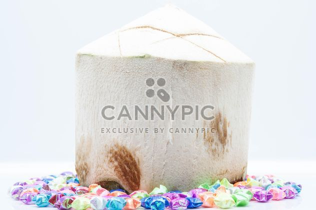 Young coconut and decorations on white background - Free image #186565