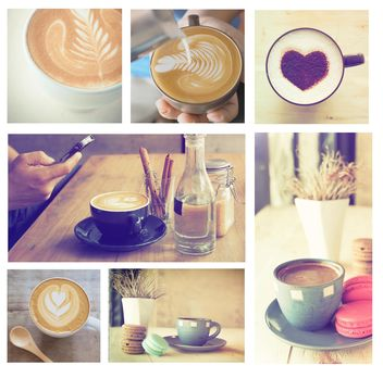 Collage of photos with coffee and latte - image gratuit #187015