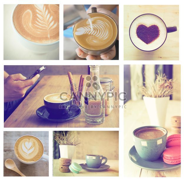 Collage de photos avec café et latte - image gratuit #187015