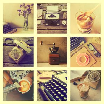 Collage of photos with coffee, retro typewriter and phone, vintage effect - бесплатный image #187085