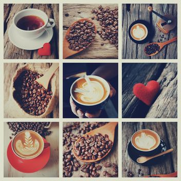 Collage of photos with coffee, vintage color - Free image #187095