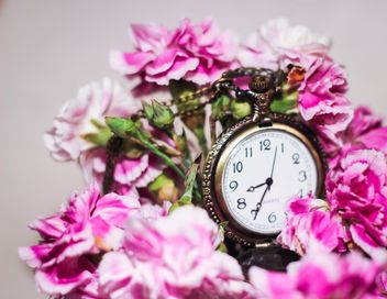 beautiful pink bouquet with a watch - image gratuit #187205