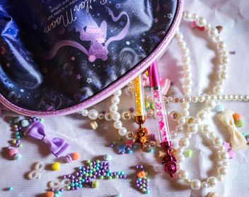 beads and trinkets from my bag, ribbons and stars - image gratuit #187225