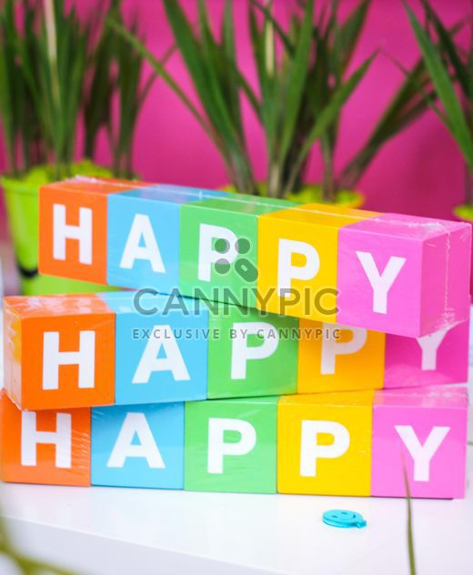 colorful letters happy from blocks - Free image #187385
