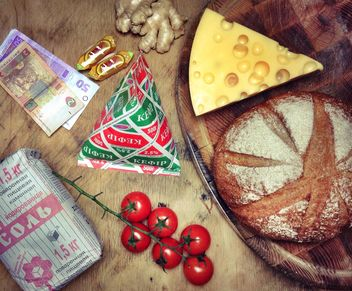 Still life with bread, chees and vegetables - бесплатный image #198965