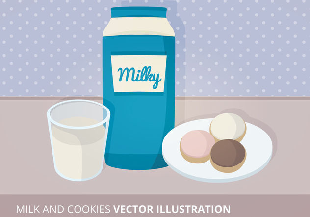 Milk and Cookies Vector Illustration - Free vector #199185