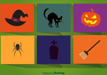 Halloween cartoon elements - Free vector #199435