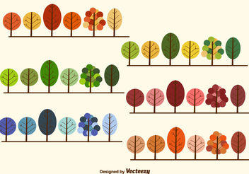 Seasonal trees collection - vector gratuit #199445