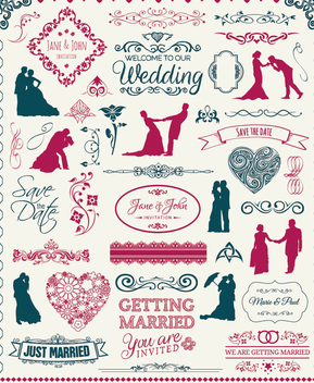 Wedding Elements Set - badges, silhouettes, emblems and ornaments - Free vector #199555