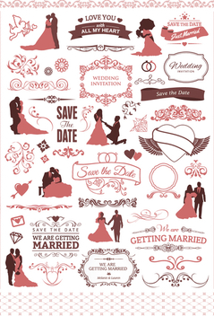60 Cool wedding elements for your invitation - vector #199565 gratis
