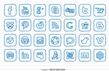 Hand Drawn Doodle Social Icon Set - Free vector #199585
