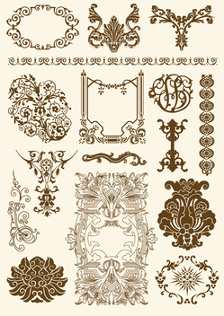 Victorian and Rococo ornament Set - vector #199605 gratis