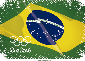 Rio 2016 over Brazil flag - Free vector #199615