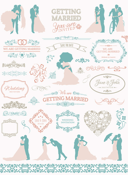 Soft Colors Wedding graphic set - Free vector #199685