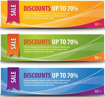 Colorful Discount Banner Set - vector gratuit #199705