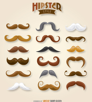 Hipster moustache collection - Free vector #199745