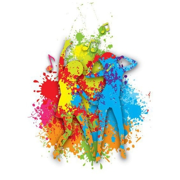 Girls Dancing Colorful Paint Splats - Free vector #200035