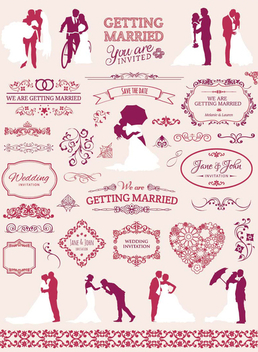 Wedding graphic element set - vector gratuit #200045