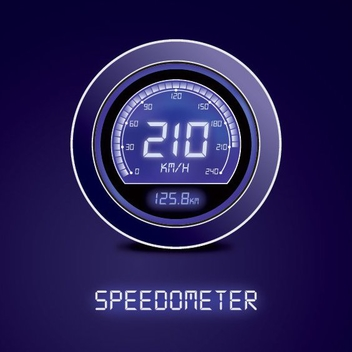 Digital Blue Speedometer - vector gratuit #200765
