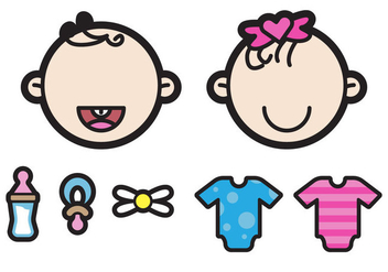 Two Cute Twin Babies Illustration - Free vector #200855