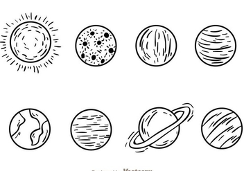 Planets Hand Drawn Icons - Free vector #200875