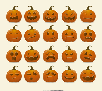 Halloween Pumpkin emoticons - vector gratuit #200905