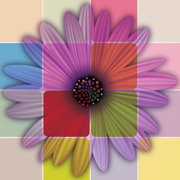 Colorful Daisy Tiled Background - Free vector #200955