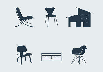 Midcentury modern furniture - бесплатный vector #201165