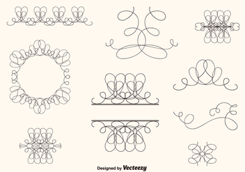Hand Drawn Curly Swirl Vector Set - бесплатный vector #201195