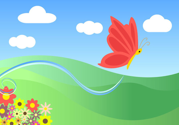 Cartoon Butterfly Landscape Vector Free - Free vector #201345