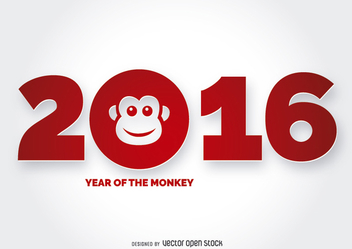 2016 Year of the Monkey Design - Free vector #201385