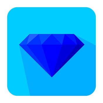 Flat diamond icon - Free vector #201885