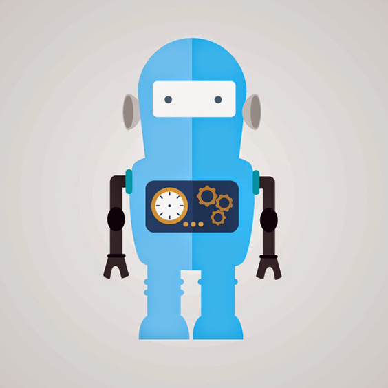 Flat Blue Robot Vector Illustration - Free vector #201925