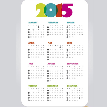 Simple 2015 Calendar Vector - vector #202065 gratis
