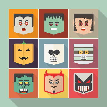 Flat Halloween Vector Faces - Free vector #202165