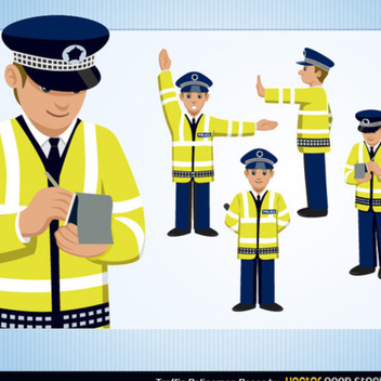 Free Traffic Policeman Vector Set - Free vector #202235