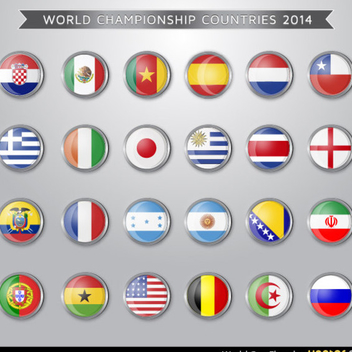 World Cup Flag Vectors - Free vector #202345