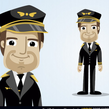 Free Vector Pilot Cartoon Character - Kostenloses vector #202385