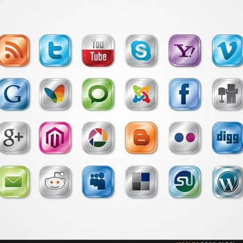 Free Vector Glossy Social Media Icon Pack - vector gratuit #202495