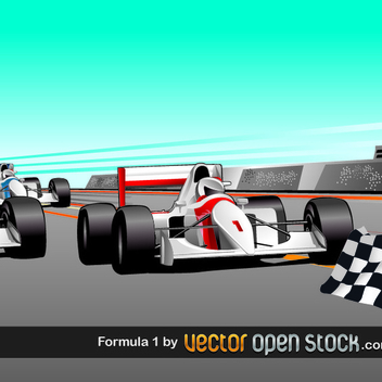 Free Racecar Vector with Flag - vector gratuit #202535