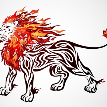 Free Lion Vector On Fire - vector gratuit #202565