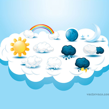 Free Vector Weather Icons - vector gratuit #202595
