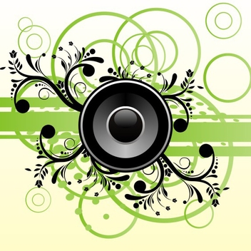 Free Vector Music Speaker On Green Abstract Background - Free vector #202695